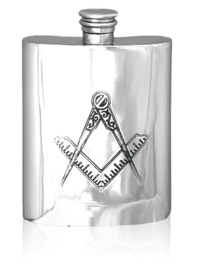 Masonic Pewter Hip Flask