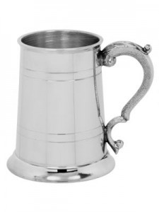 English Pewter 1 Pint Straight Georgian Handle Tankard
