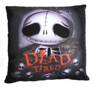 Skully Skelling Dead Tired Cushion
