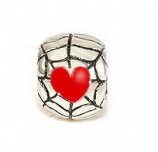 Frightling Spiders Web Heart (Red) Bead