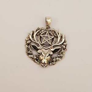 Silver Stag and Pentagram Pendant