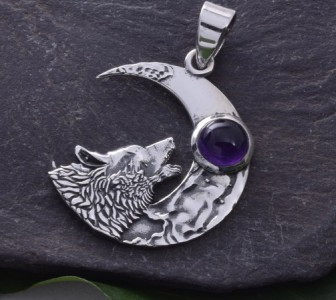Amethyst & Silver Moon & Howling Wolf Pendant.
