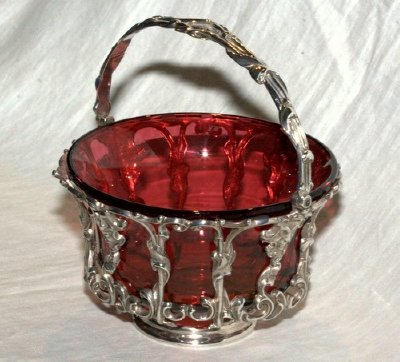Silver Sugar Basket with Ruby Glass Liner