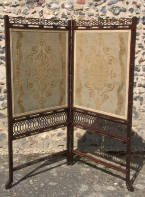 Antique Mahogany Fire Screen
