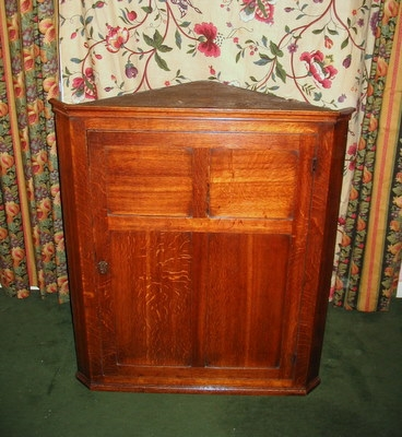 Antique Oak Corner Cupboard