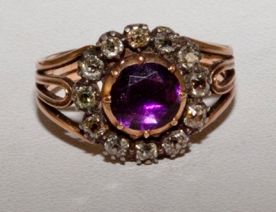 Ring Victorian Amethyst and diamond cluster