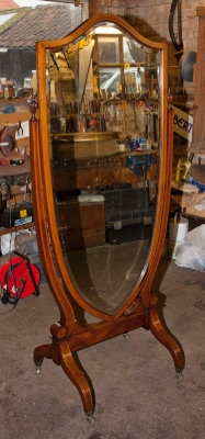Mahogany Inlaid Cheval Mirror  c.1870