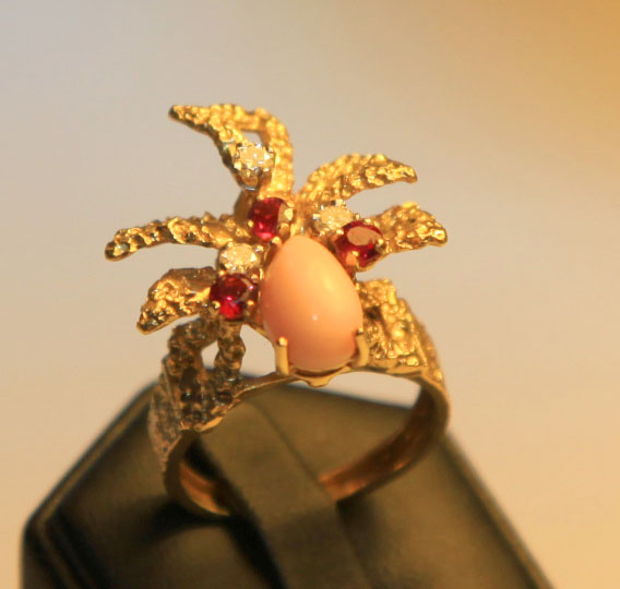 Ring 18ct Coral, Diamond and Ruby 1900s