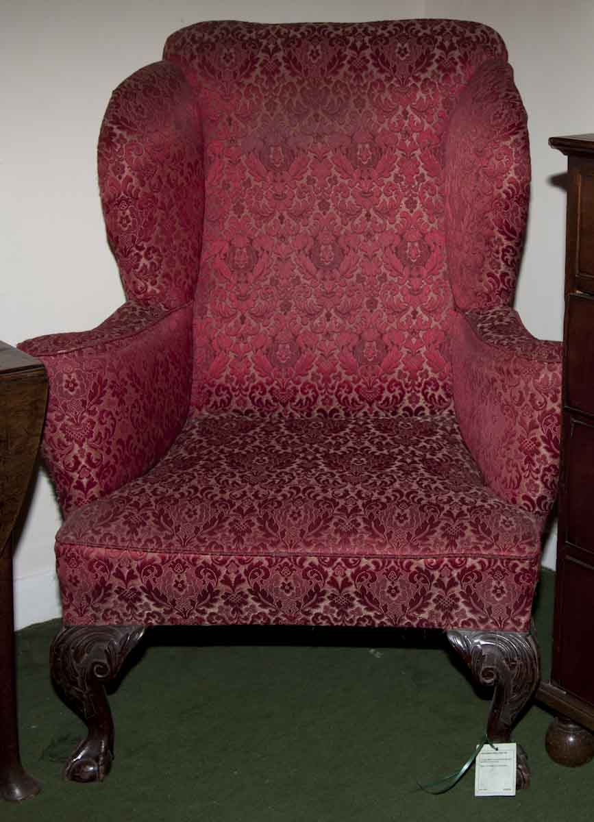 Victorian Upholstered Wing Chair 19c