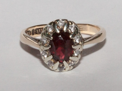 Ring 9ct Garnet and CZ Cluster
