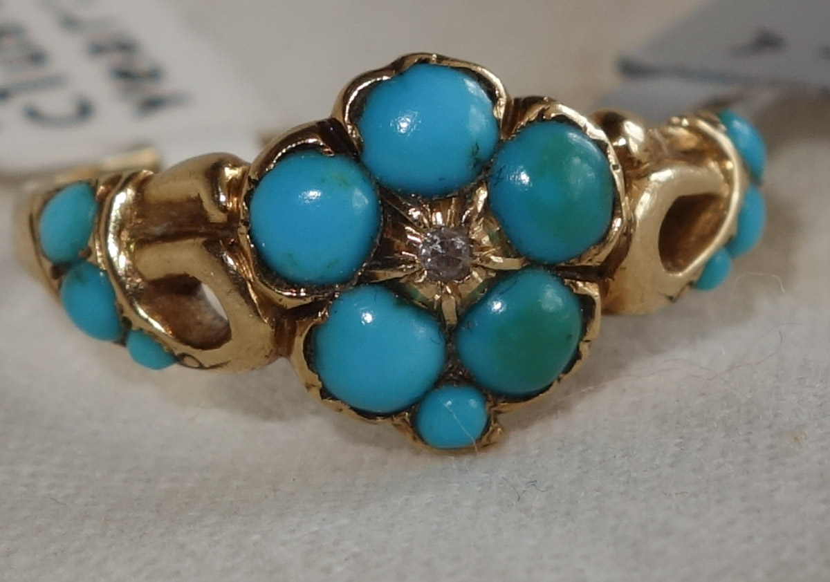 Ring Turquoise and Diamond cluster c1860