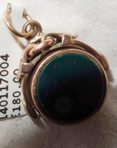 Fob Gold swivel - bloodstone