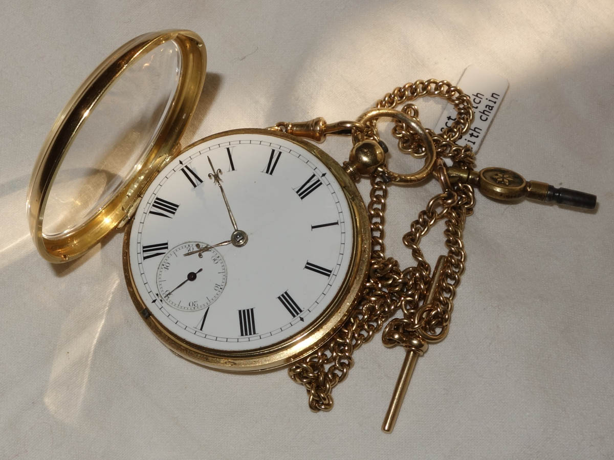 Victorian 18ct Pocket Watch & 18ct Fob Chain