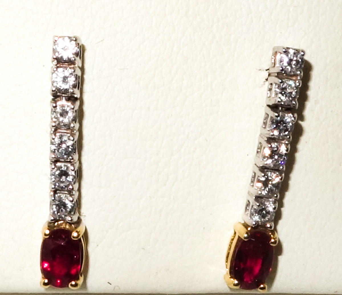 Earrings 18ct Ruby and Diamond Drop