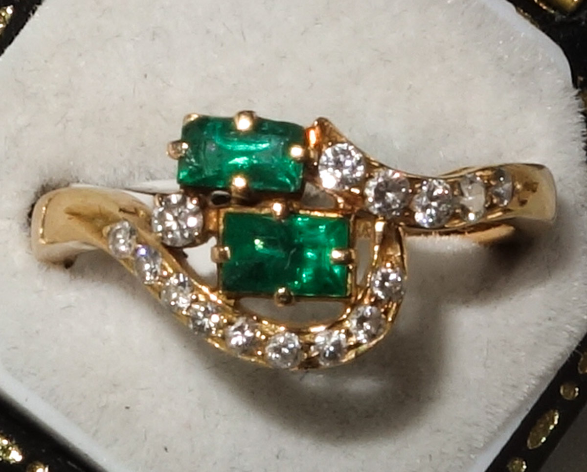Ring 18ct Emerald and Diamond Cluster