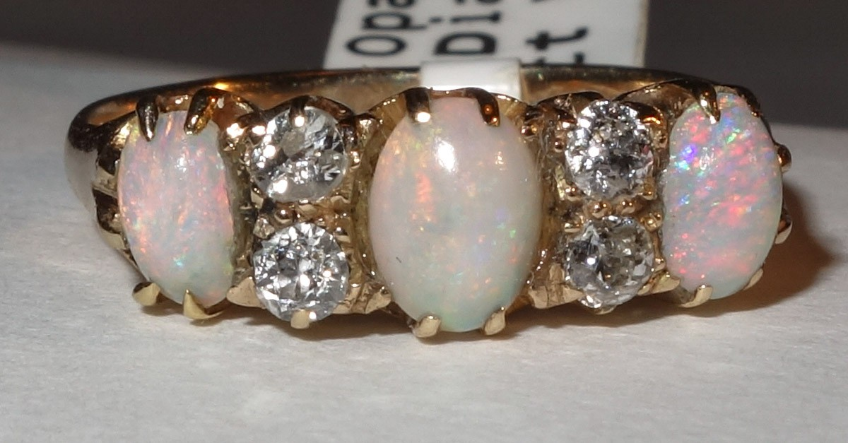Ring Antique 9 Ct Gold 3-opal and 4-diamond