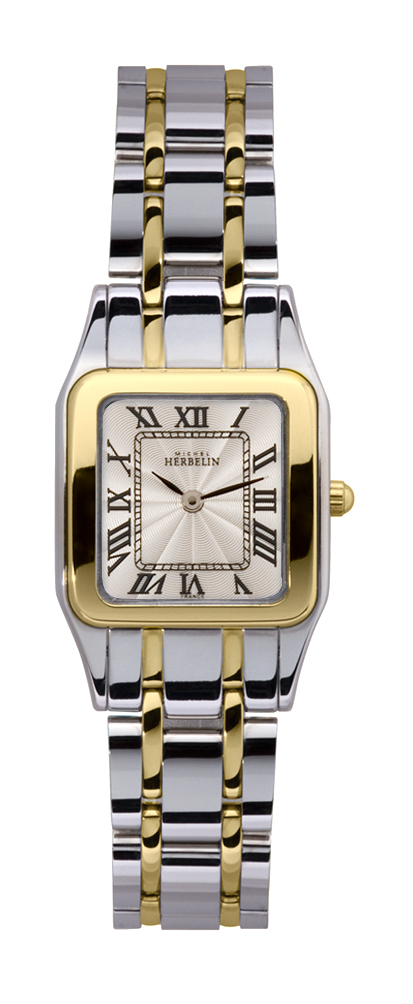 Womens Two Tone mini Luna Watch with square roman dial