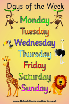 JUNGLE DAYS OF THE WEEK POSTER BOARD