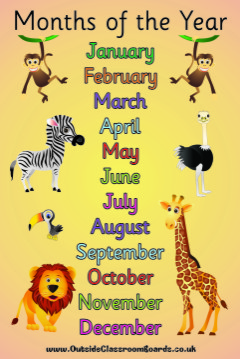 JUNGLE MONTHS OF THE YEAR POSTER BOARD