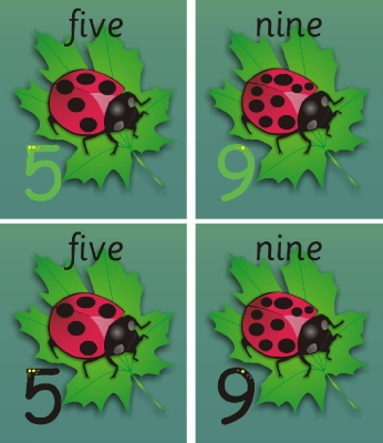 SET OF 11 INDIVIDUAL LADYBIRD NUMBER RECOGNITION & FORMATION PLAQUES