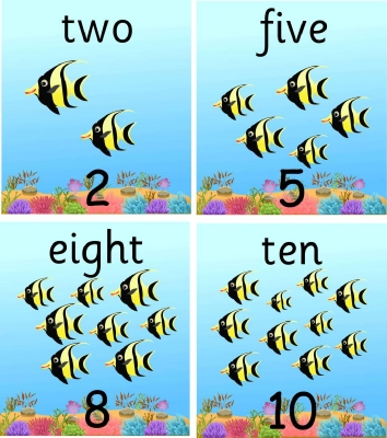 SET OF 11 INDIVIDUAL FISH NUMBER RECOGNITION PLAQUES