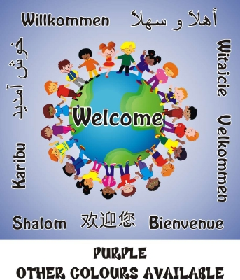WELCOME BOARD - MULTICULTURAL  GLOBE