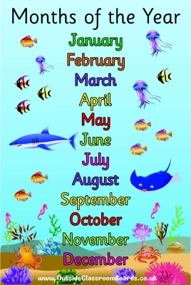 UNDER THE SEA MONTHS OF THE YEAR POSTER BOARD