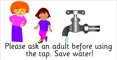 SAFETY SIGN - PLEASE ASK AN ADULT BEFORE USING THE TAP