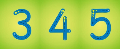 NUMBER FORMATION  WALL FRIEZE YELLOW OR GREEN  0-10 or 0-20