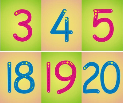 NUMBER FORMATION  WALL FRIEZE MULTI 0-10 or 0-20