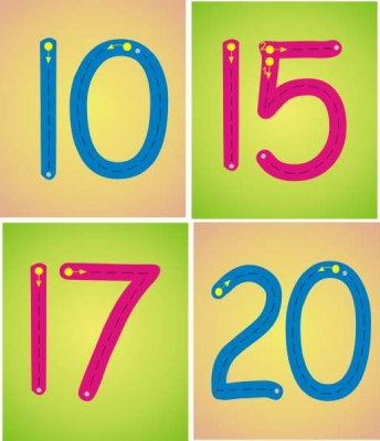 SET OF 21 INDIVIDUAL NUMBER FORMATION PLAQUES - MULTI
