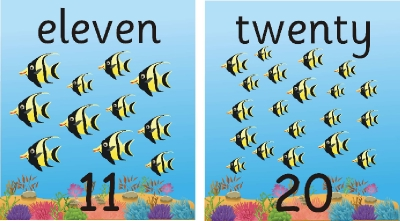 SET OF 21 INDIVIDUAL FISH NUMBER RECOGNITION PLAQUES