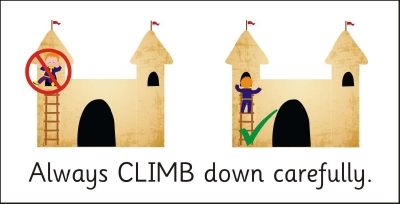 SAFETY SIGN - ALWAYS CLIMB DOWN CAREFULLY