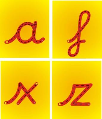 SET OF 26 INDIVIDUAL CURSIVE STYLE 3 LETTER FORMATION PLAQUES