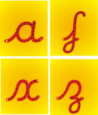 SET OF 26 INDIVIDUAL CURSIVE STYLE 4 LETTER FORMATION PLAQUES