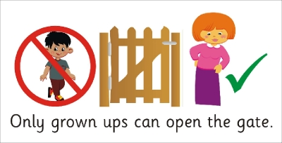 SAFETY SIGN - ONLY GROWN UPS CAN OPEN THE GATE