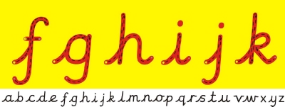 CURSIVE LETTER FORMATION WALL FRIEZE (Style 6) - Yellow