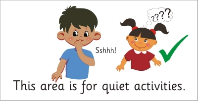 AREA SIGN - THIS AREA IS FOR QUIET ACTIVITIES