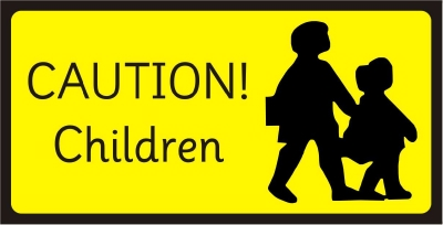 SAFETY SIGN - CAUTION! CHILDREN - 2 sizes available