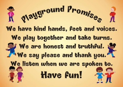 PLAYGROUND PROMISES BOARD 2 600mm x 750mm approx