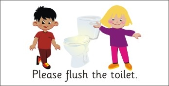 SAFETY SIGN - PLEASE FLUSH THE TOILET - BOY & GIRL