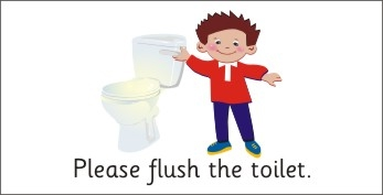 SAFETY SIGN - PLEASE FLUSH THE TOILET - BOY