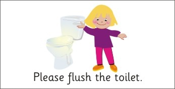 SAFETY SIGN - PLEASE FLUSH THE TOILET - GIRL