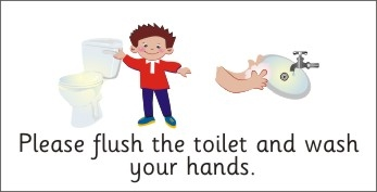 SAFETY SIGN - PLEASE FLUSH THE TOILET & WASH HANDS - BOY