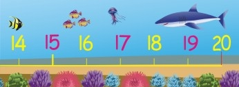 0 - 20 NUMBER LINE WALL FRIEZE - UNDER THE SEA