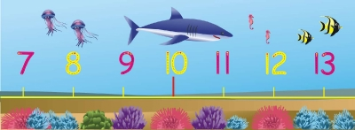 0 - 20 NUMBER LINE & NUMBER FORMATION WALL FRIEZE - UNDER THE SEA