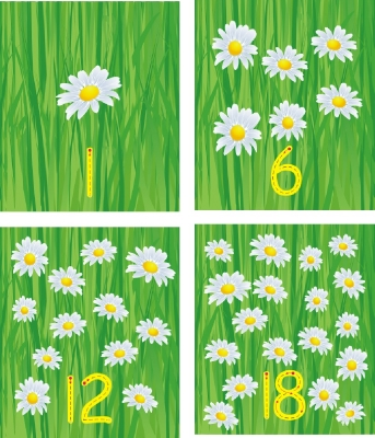 SET OF  INDIVIDUAL FLOWER NUMBER RECOGNITION PLAQUES - DIGIT ONLY
