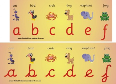 ANIMAL ALPHABET LETTER FORMATION WALL FRIEZE (also in Cursive style)