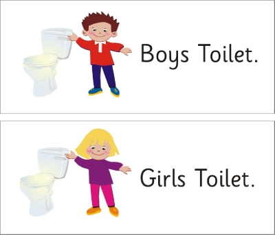 SAFETY SIGN - GIRLS/BOYS TOILET