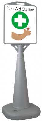 FREESTANDING WATERBASED CONE SIGN - FIRST AID STATION